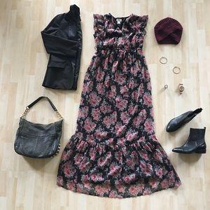 Motherhood Maternity dark floral ruffle maxi dress